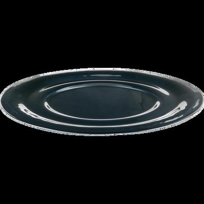 Assiette de présentation en verre gris anthracite D32cm-LISA