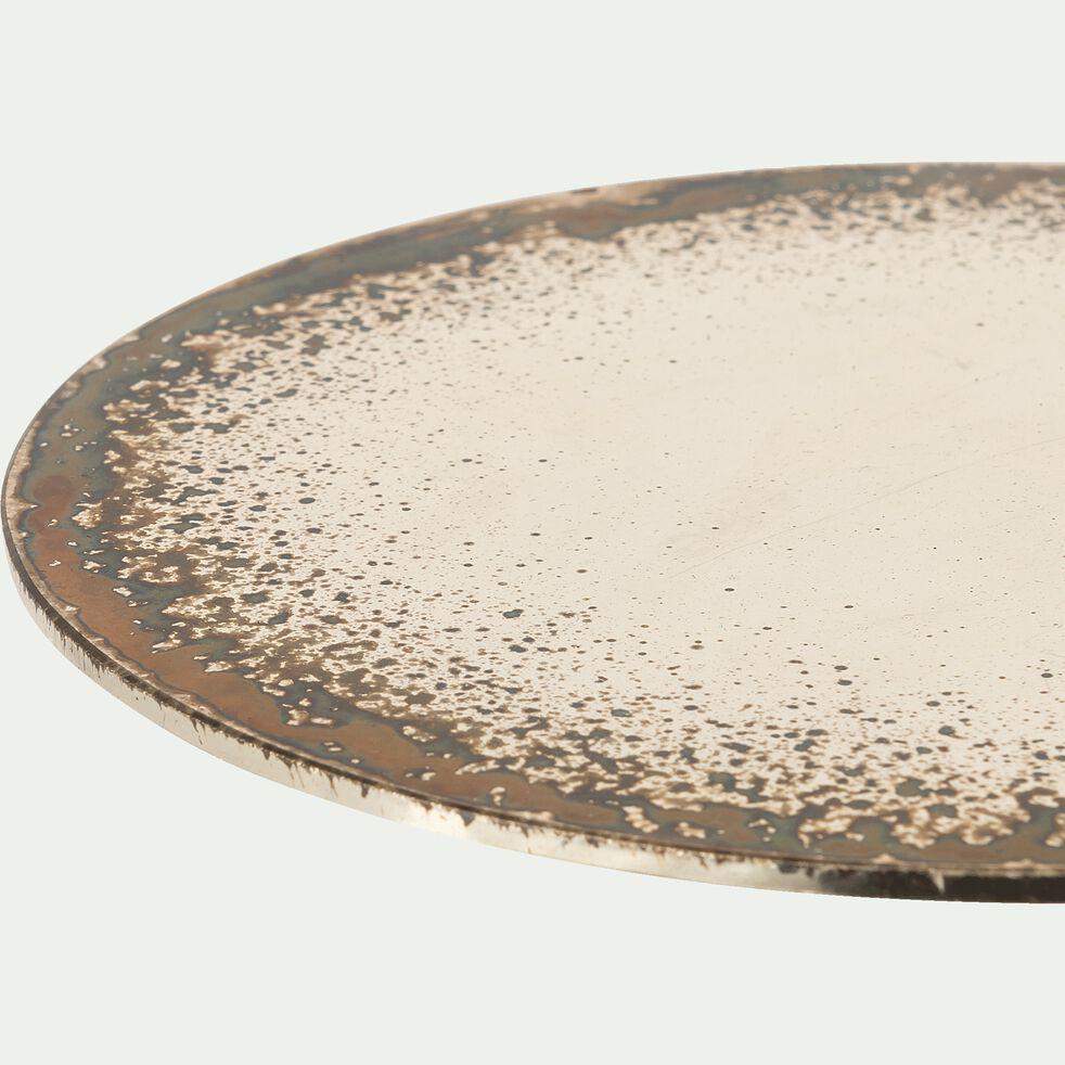 Plateau fantaisie en verre - marron 15x15x0,2cm-VALENTIN