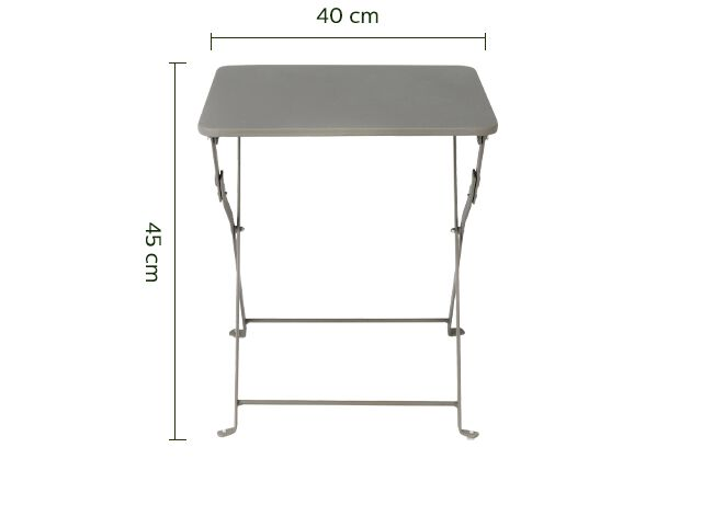 Table basse de jardin pliante taupe en acier-CERVIONE
