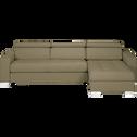 Canapé d'angle convertible réversible en tissu taupe-Mauro