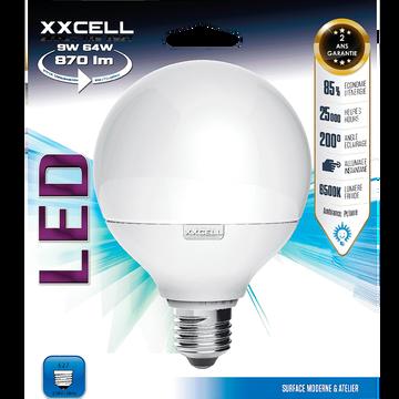 Ampoule LED D9,5cm blanc froid culot E27-GLOBE