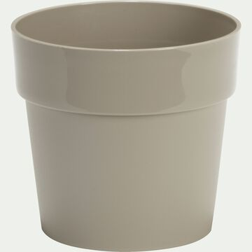 Cache-pot beige en plastique H14,5xD16cm-B FOR