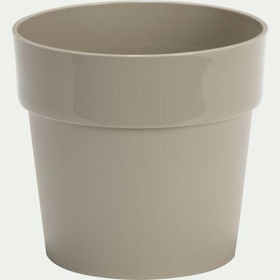 Cache-pot beige en plastique H14,5xD16cm-B FOR