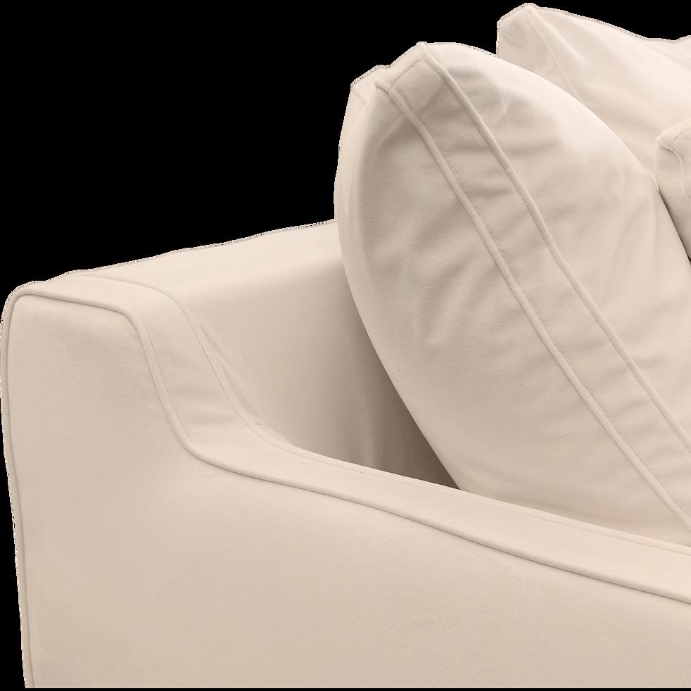 Canapé 2 places convertible en velours beige roucas-LENITA