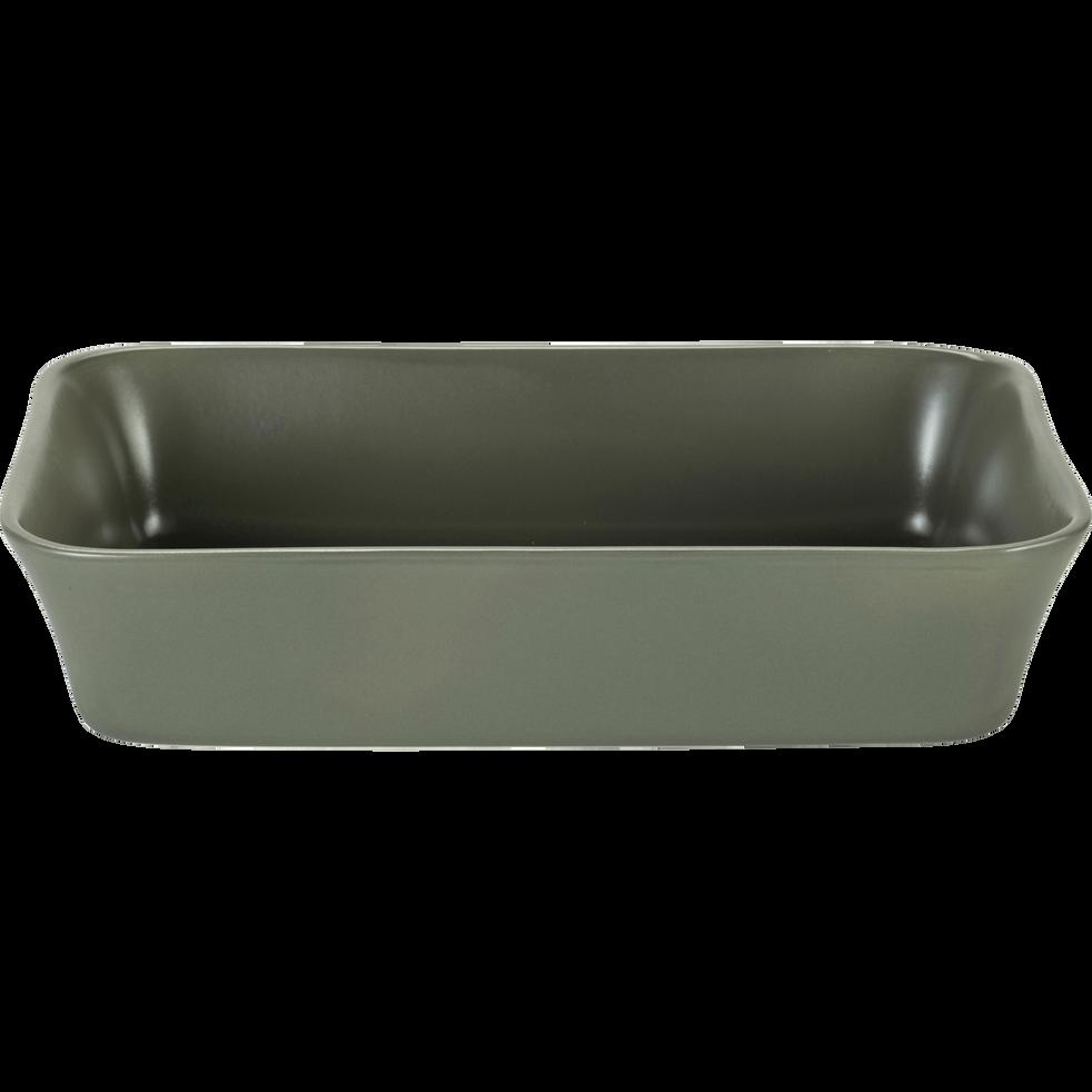 Plat à four rectangulaire en grès vert cèdre 26x18cm-ALVARA