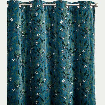 Rideau velours à motif floral 135x250cm-FLEUR D'ORA