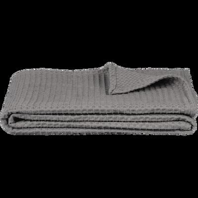 Plaid en coton gaufré gris restanque 130x170cm-GOYA