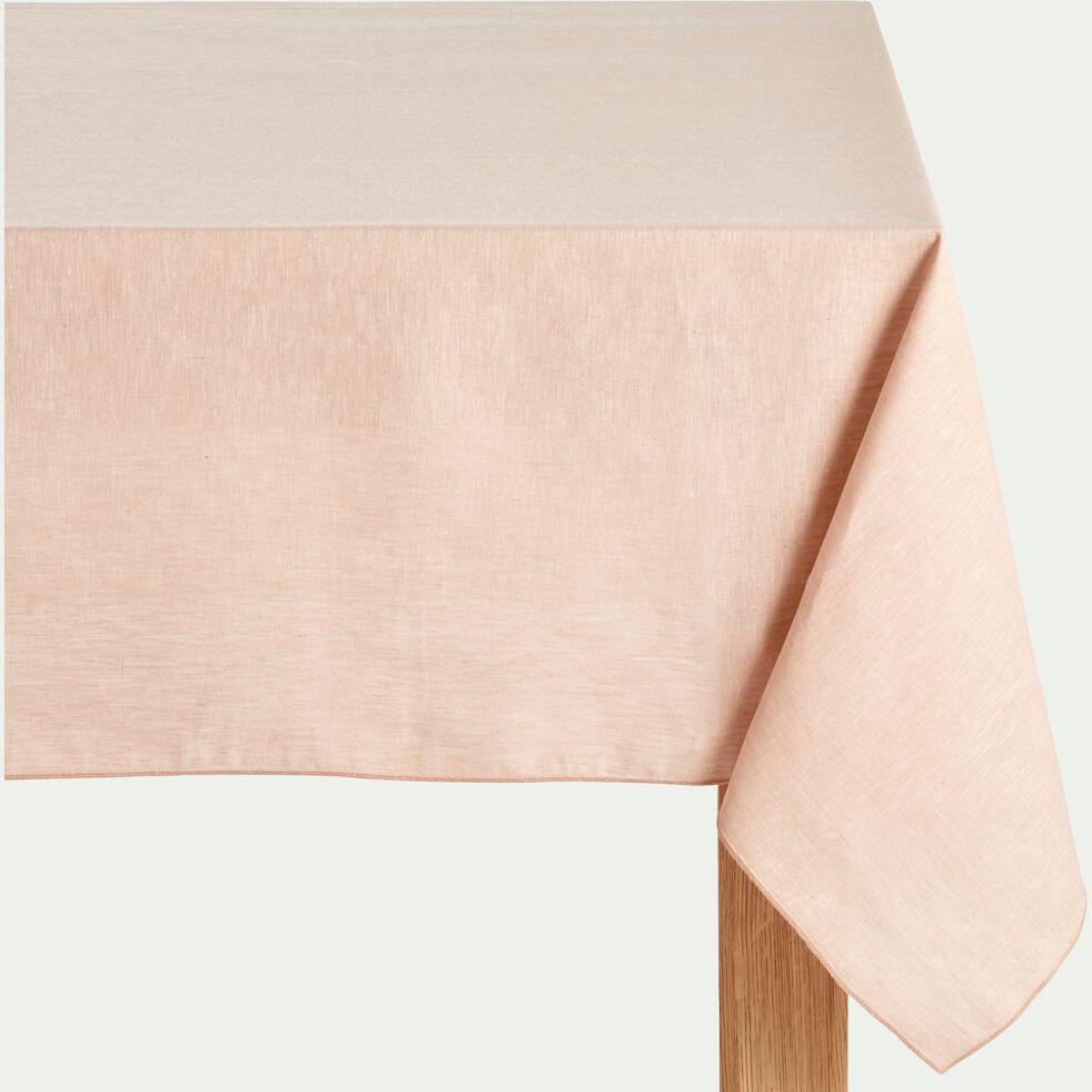 Nappe en lin et coton rose grège 170x170cm-NOLA