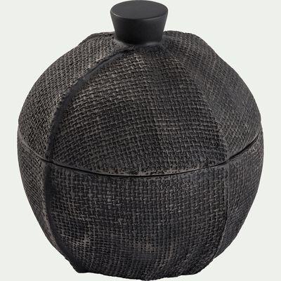 Boite décorative effet tissu en polyrésine - noir D12xH13cm-MAELLYS
