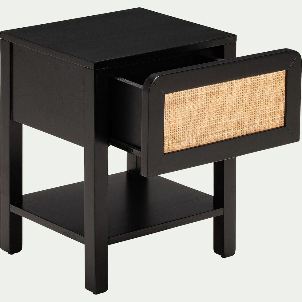 Table de chevet noir et rotin-GALANT