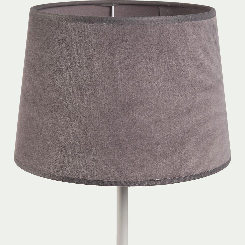 Abat-jour en velours gris restanque D23cm-VELOURS