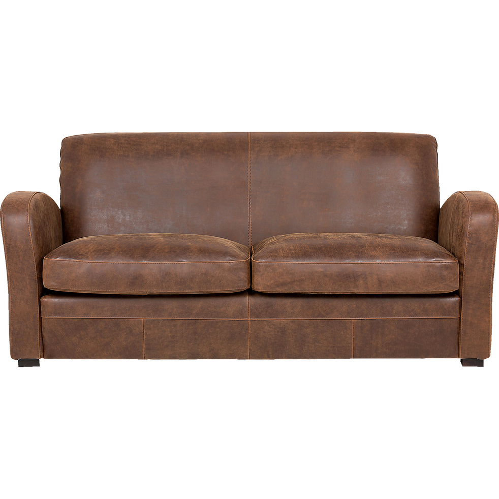 canap 3 places fixe en cro te de cuir cuba canap s droits en cuir alinea. Black Bedroom Furniture Sets. Home Design Ideas