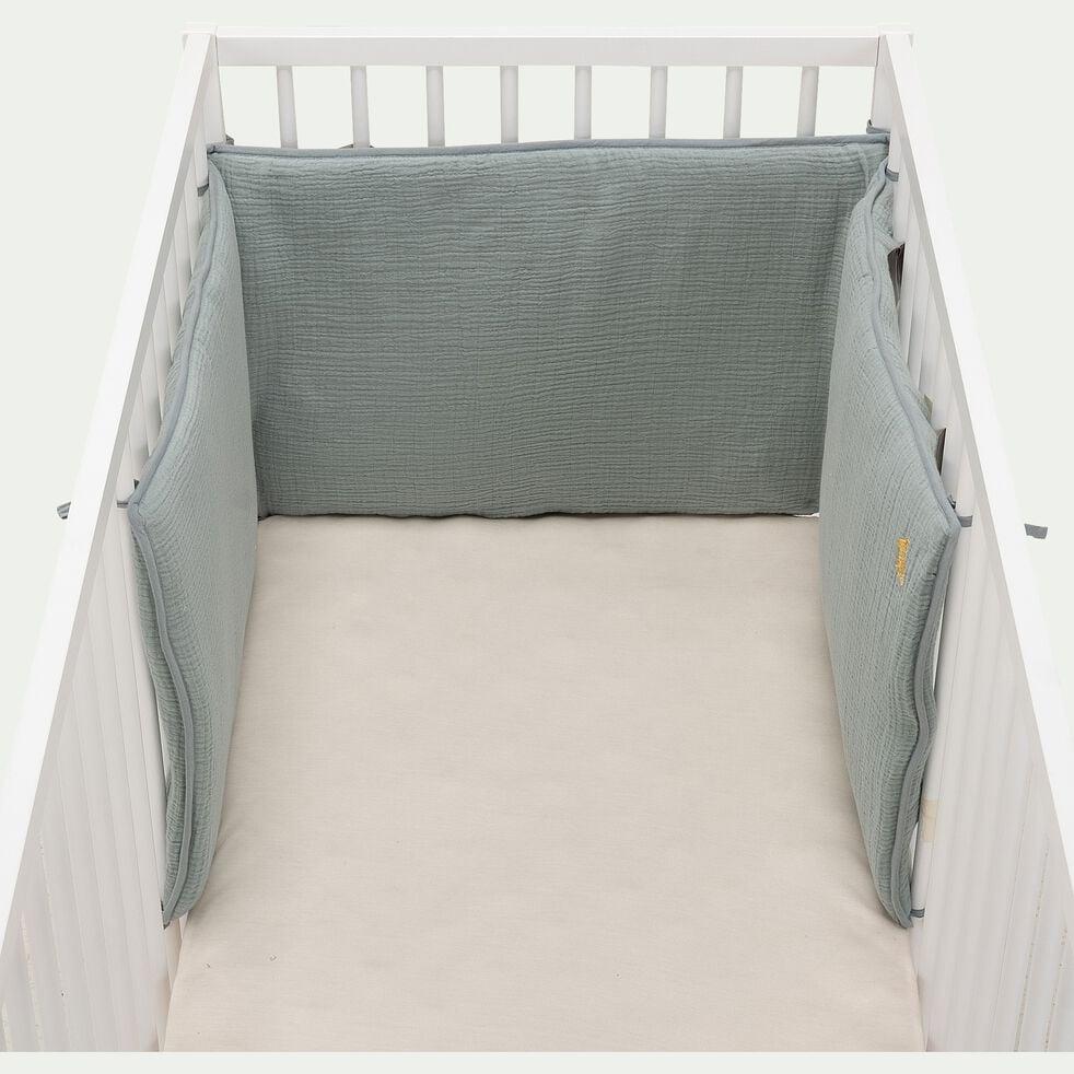 Tour de lit bébé en gaze de coton bio avec broderie lurex - bleu calaluna-Nuage