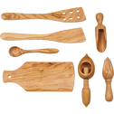Spatule galbée en bois d'olivier L30.5cm-OLIVIA