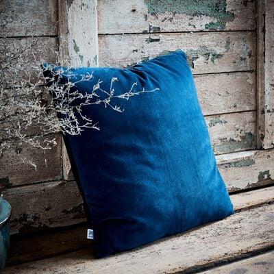Coussin en velours de coton - bleu figuerolles 45x45cm-EDEN