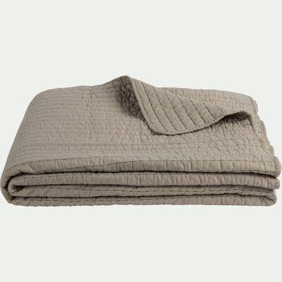 Jeté de lit en coton surpiquage - vert olivier 180x230cm-CASTEL