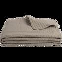 Jeté de lit en coton vert olivier et vert cèdre 180x230cm-CASTEL