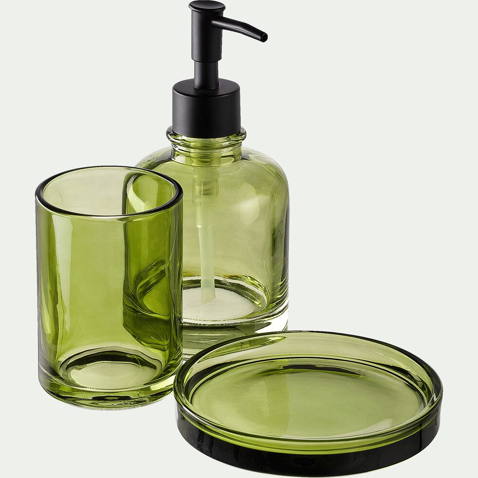 Porte-savon en verre - vert D12,5cm-OSCO