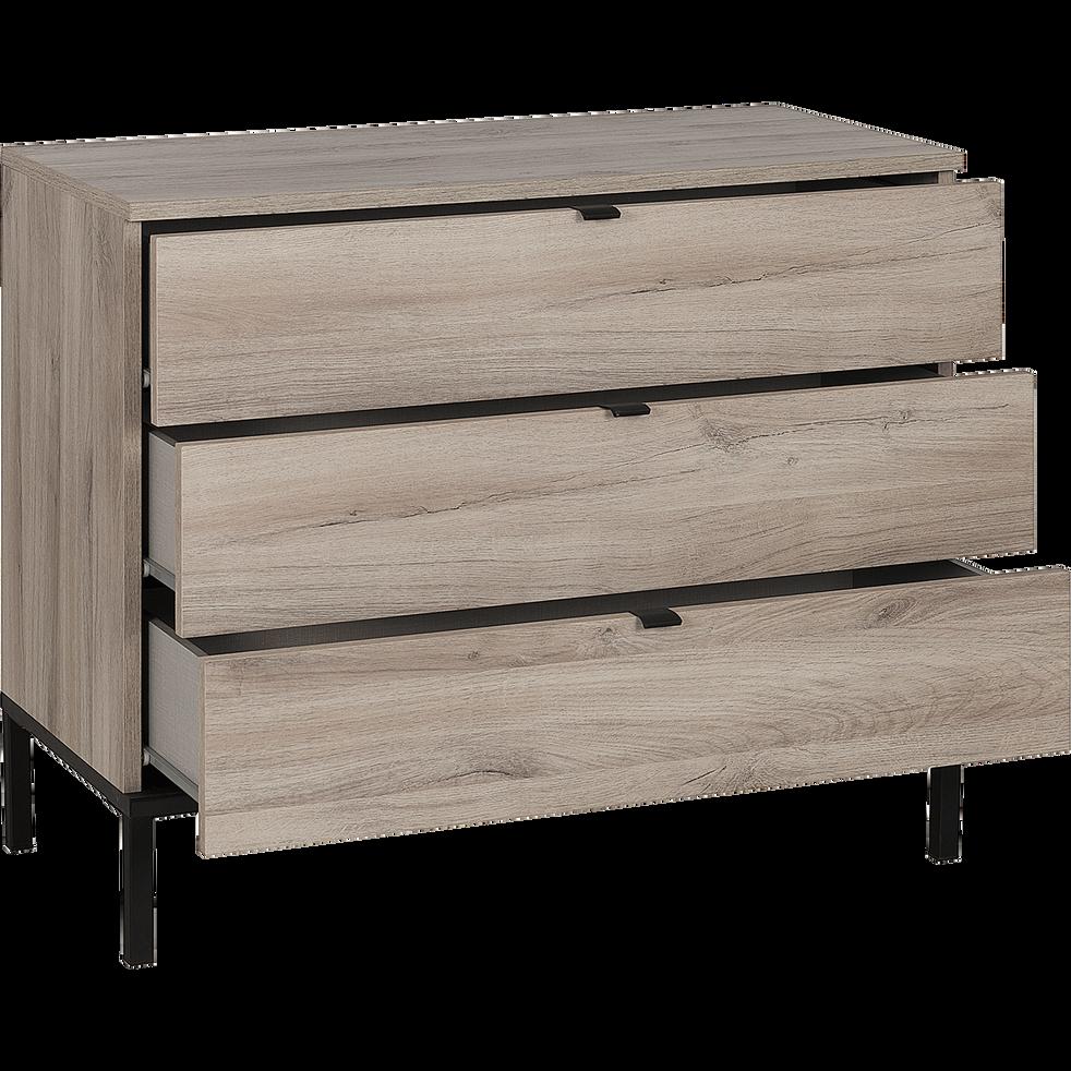 Commode 3 tiroirs finition chêne et métal noir-CASTEL