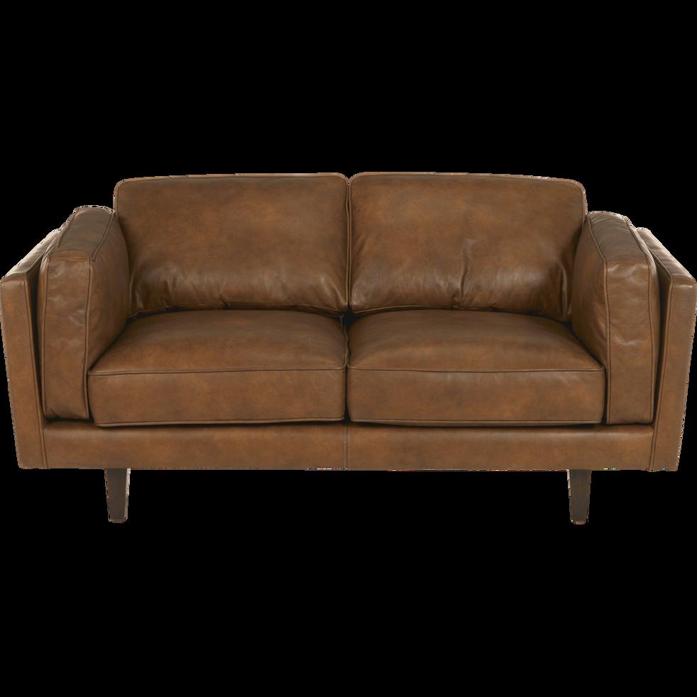 canap 2 places fixe en cuir de vachette brooklyn canap s droits en cuir alinea. Black Bedroom Furniture Sets. Home Design Ideas