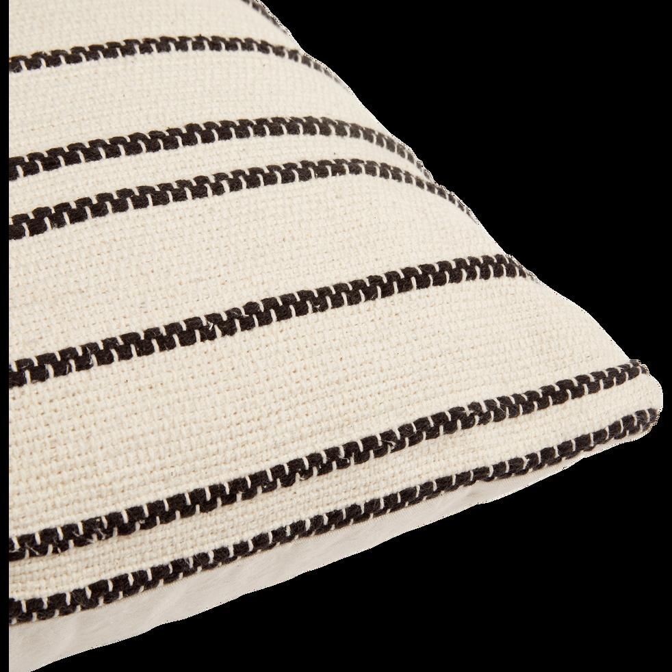 Coussin en coton brodé noir et écru 45x45 cm-BADIANE