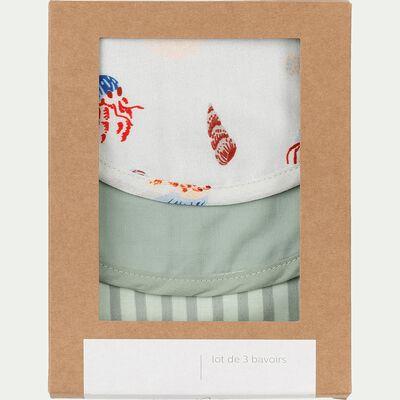 Lot de 3 bavoirs bébé en coton bio - couleur unie, rayé et motifs imprimés-Plume