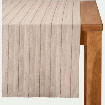 Chemin de table en lin et coton à motifs rouge sumac 50x150cm-NAIS