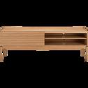 Meuble TV plaqué chêne avec porte coulissante L176cm-FEVE