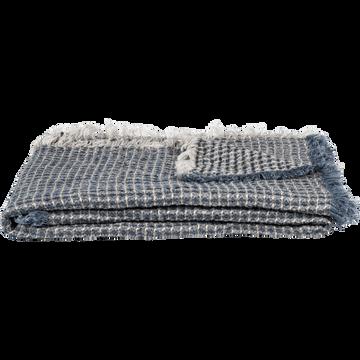 Plaid en lin effet nid d'abeille bleu 123x185cm-LUCIEN