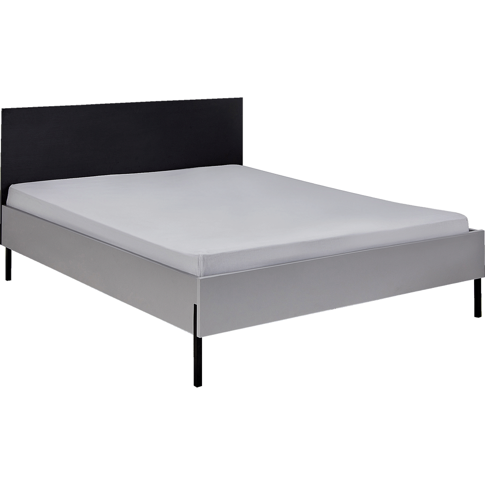 Lit 2 places gris 160x200cm-CASTEL
