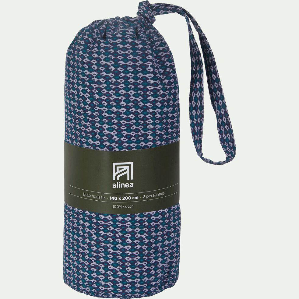Drap housse en coton peigné - bleu figuerolles 160x200cm B27cm-SEME
