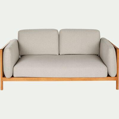 Canapé fixe 3 places en cannage et tissu gris borie-ROUSAN