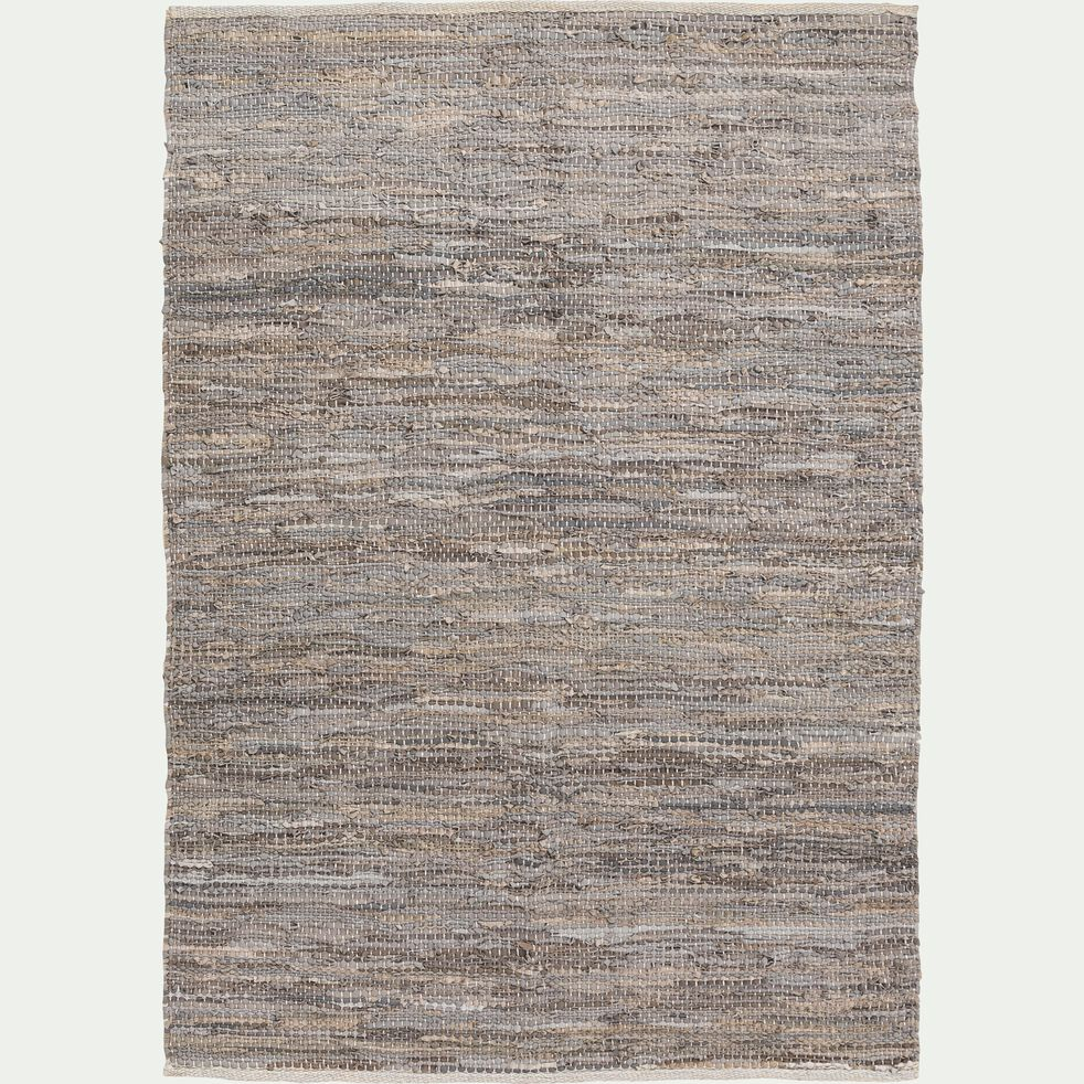 Tapis tressé en cuir et coton - gris 150x200cm-MARIELLE
