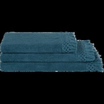 Linge de toilette frangé bleu figuerolles-LYNA