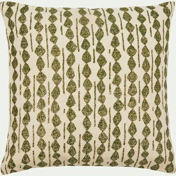 Coussin ethnique en coton - vert cèdre 45x45cm-BARRAS