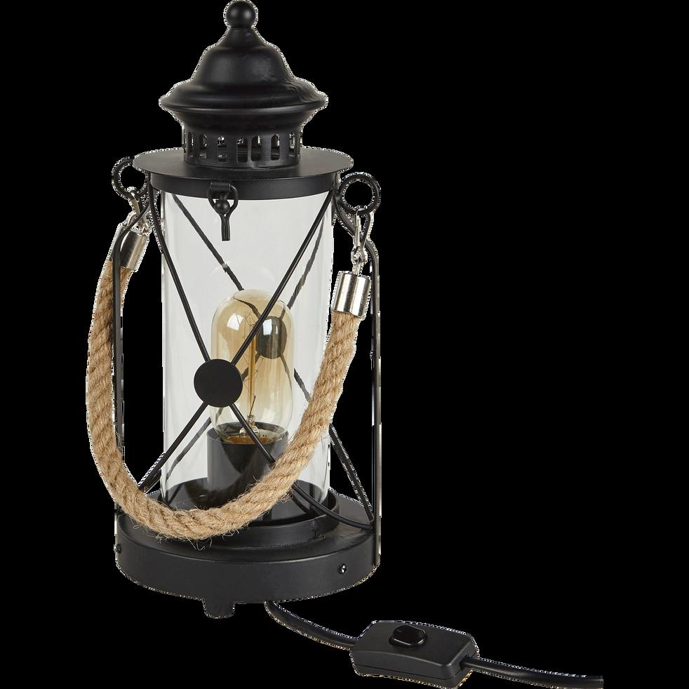 Lampe à poser noire style lanterne de marin H33cm-BRADFORD