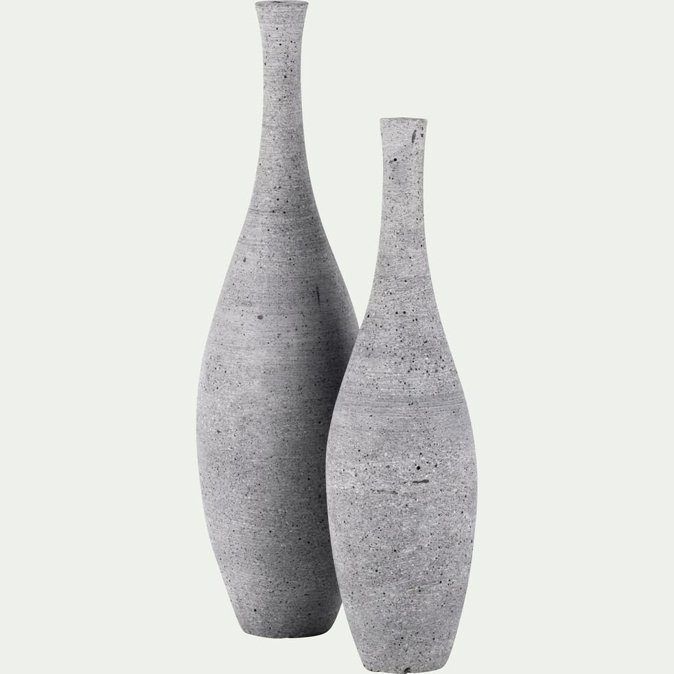 Vase effet béton en polystone - gris H30cm-CALCIS
