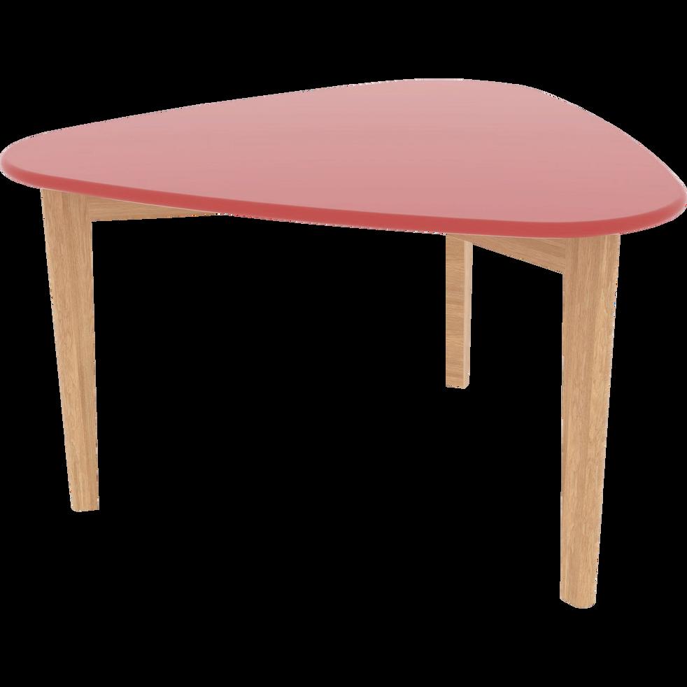 Table basse triangulaire rouge avec pieds en chêne-SIWA