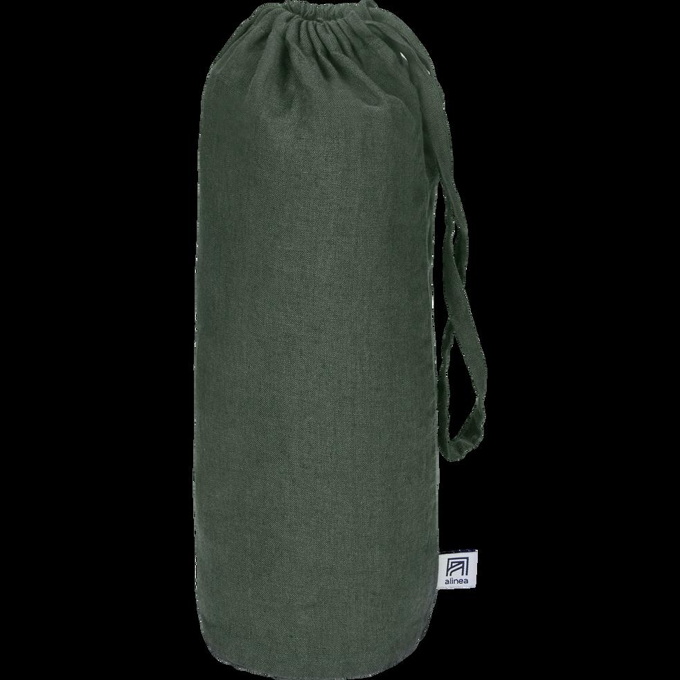 Drap housse en lin Vert cèdre 180x200cm bonnet 28cm-VENCE