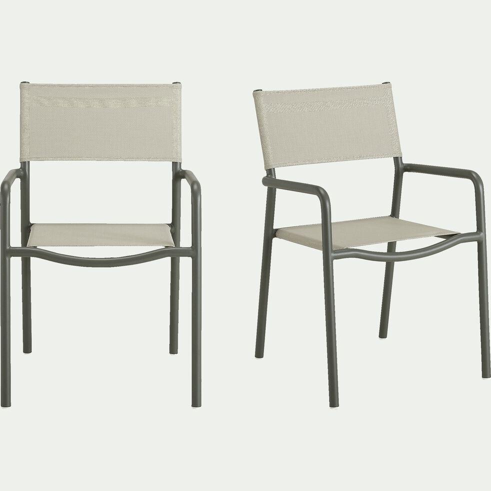 Chaise de jardin en aluminium et textilène avec accoudoirs vert olivier-Sausset