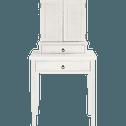 Coiffeuse 2 tiroirs en pin massif brossé blanchi-JALOUSIE
