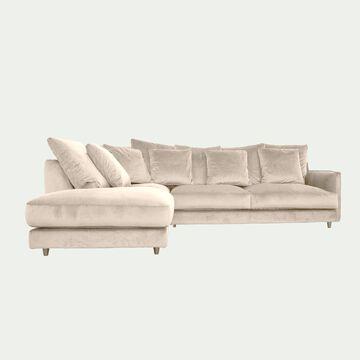 Canapé d'angle gauche convertible en velours - beige roucas-LENITA