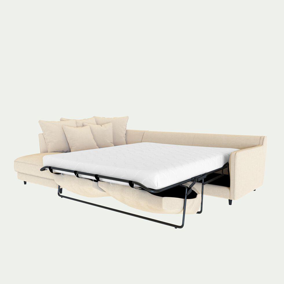 Canapé d'angle gauche convertible 5 places en tissu joint - beige roucas-LENITA