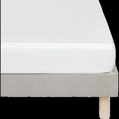 Drap housse en satin Blanc capelan rayé - 160x200 cm-SANTIS