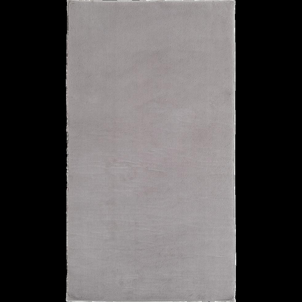 Tapis imitation fourrure gris restanque 60x110 cm-ROBIN