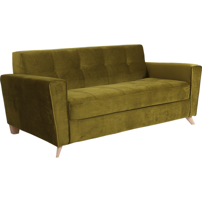Canapé 3 places fixe en velours vert-VICKY