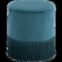 Pouf en velours rond D35cm bleu figuerolles-MAUA