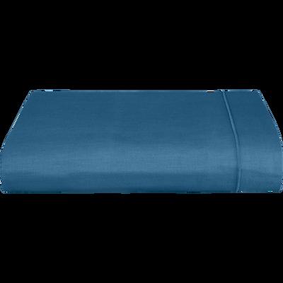 Drap plat en coton bleu figuerolles 180x300cm-CALANQUES