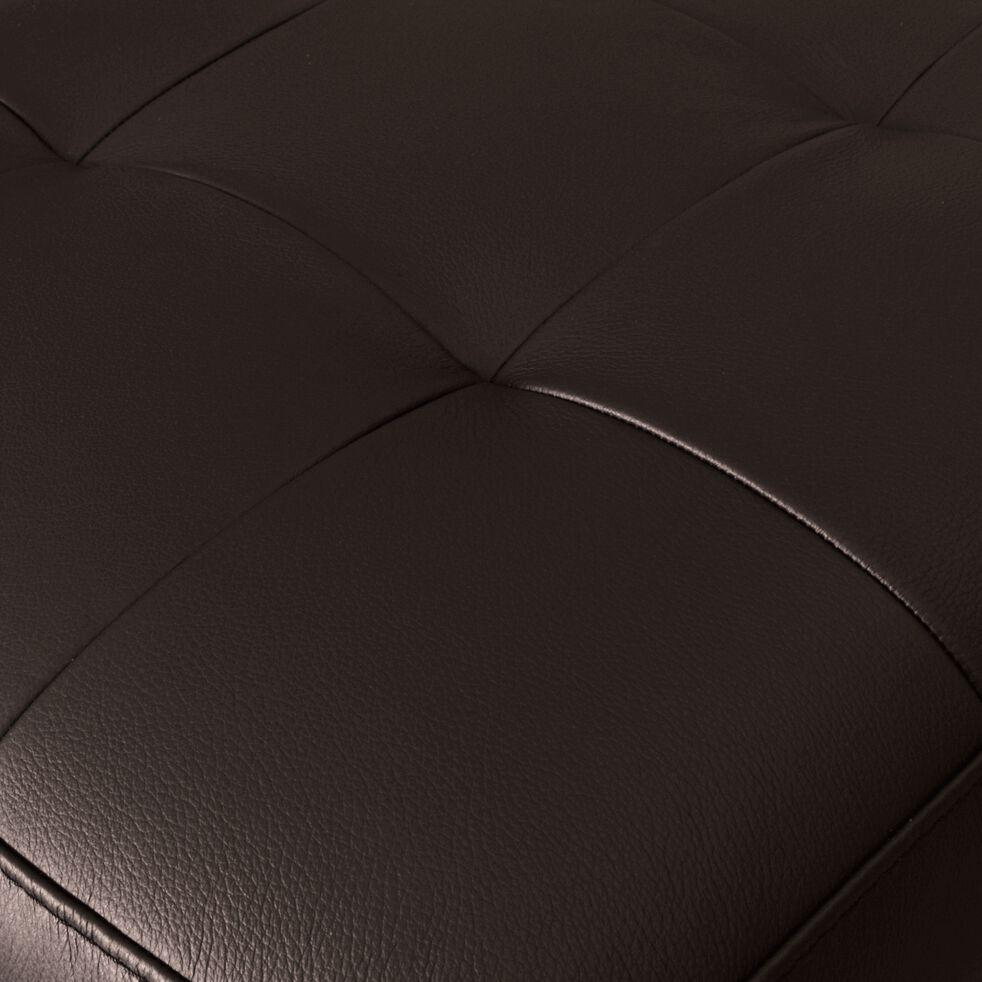 Pouf en cuir avec coffre - marron-MAURO