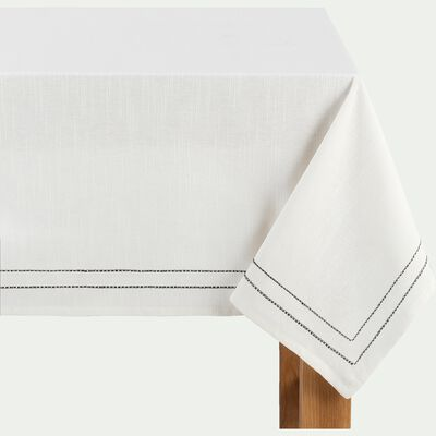 Nappe en coton blanc et noir 170x300cm-GALLIA